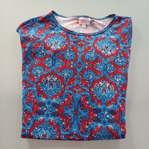 LuLaRoe Multicolored IrmaBlue Red T-Shirt Size L